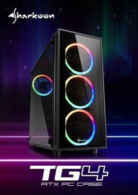 『高雄程傑電腦』 Sharkoon 旋剛 TG4-RGB 炫彩者RGB /鋼化玻璃側版/ ATX/A.RGB【實體店家】