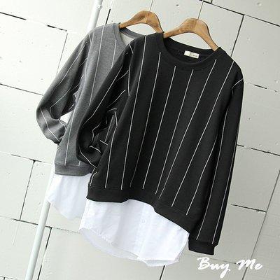 Buy Me 韓版寬鬆百搭假兩件 休閒街頭氣質直條紋圓領上衣 (兩色) 現貨