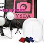 YIDA-YD-077-迷你行動攝影棚+桌型白光9W LED攝影燈+四色背景布+贈手機短腳架 入門雙燈KIT 網友熱推!