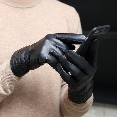 觸控手套 真皮手套-防風山羊皮薄款黑色男手套73wm31[獨家進口][米蘭精品]