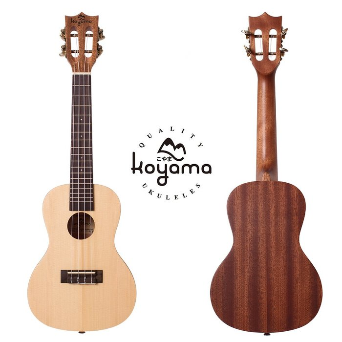 """《小山烏克麗麗》KOYAMA KYM-250SPR-C 23"""" 23吋 單板烏克麗麗 雲杉單板 古典琴頭 超值全配套組"""
