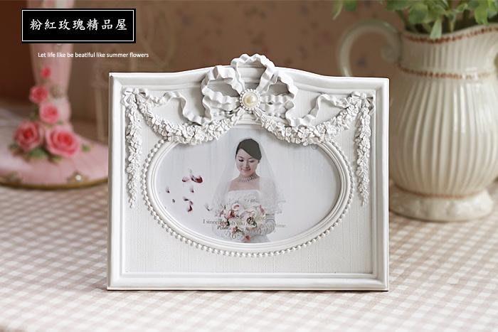 粉紅玫瑰精品屋~歐式復古婚紗照珍珠結婚禮物浮雕相框~