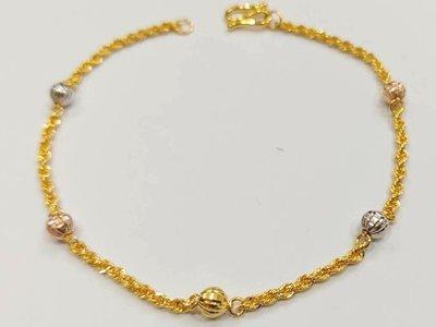 如玉坊珠寶   三色電刻球手鍊  黃金手鍊