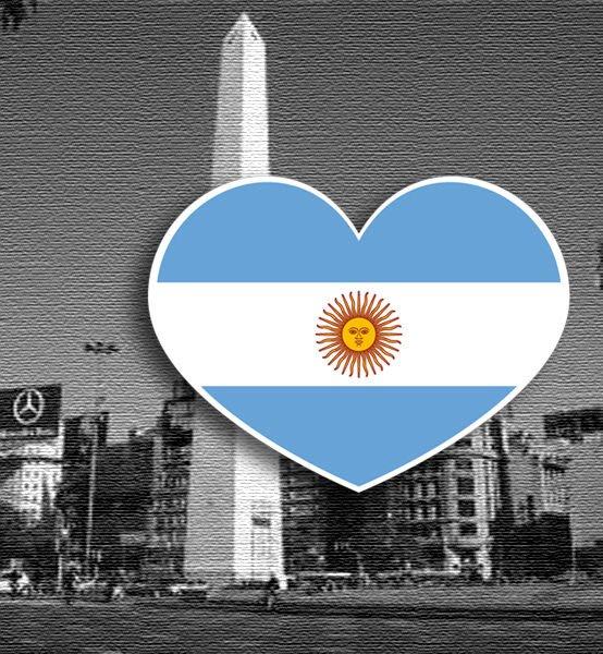 【衝浪小胖】阿根廷國旗抗UV、防水愛心形登機箱貼紙/Argentina/各國都有販賣和客製