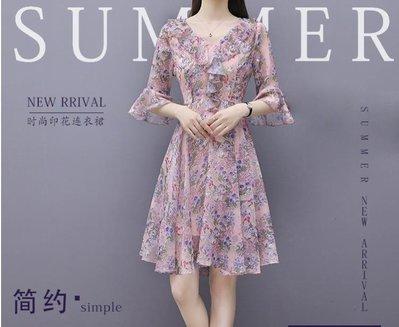 碎花洋裝 大碼女裝夏裝新款減齡藏肉遮肚子雪紡仙女洋裝