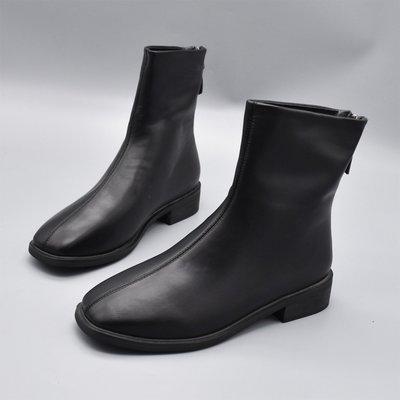 [日韓店購購]新款簡約百搭復古顯瘦方頭踝靴英倫風粗跟加絨女短靴后拉鏈瘦瘦靴