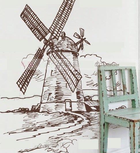 小妮子的家@地中海風車壁貼/牆貼/玻璃貼/磁磚貼/汽車貼/家具/糖