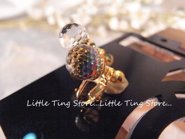國外珠寶施華洛世奇超閃金色底五彩寶石單顆耳環夾式夾式螺旋耳環飾情人節禮物