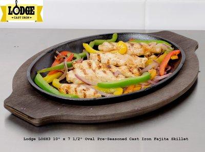 全新美國原裝 LODGE Serving Griddle 10吋 橢圓型烤盤/鑄鐵鍋  - LOSH3 - 平行商城