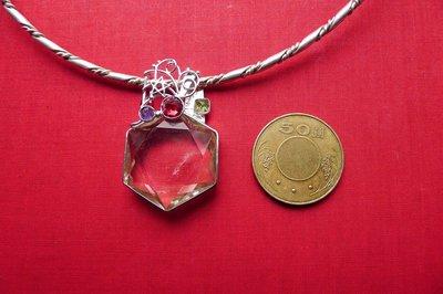 【銀工坊  單一價】925純銀天然大衛星黃水晶銀墜~~給第一標