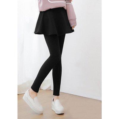 【Hao Da】全館399免運↘「M~XL。現貨」保暖彈力刷毛 假兩件大圓裙內搭褲 (P1054)