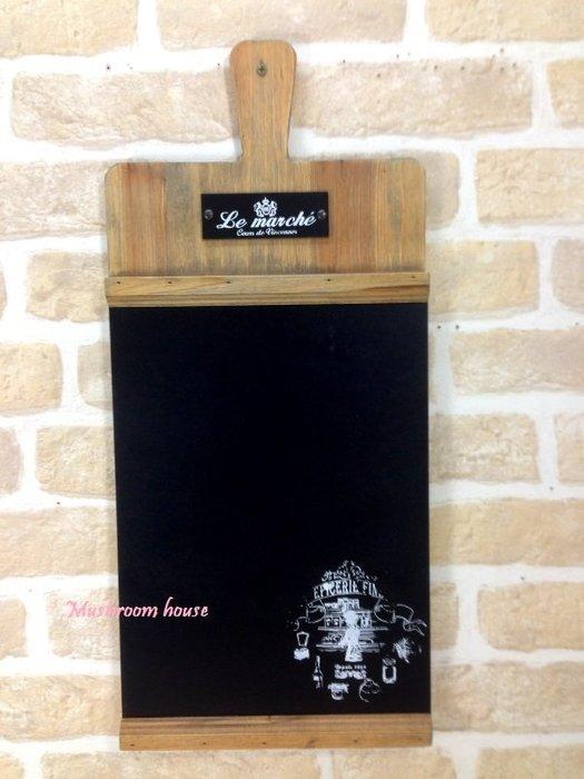 點點蘑菇屋 麵包砧板造型黑板 木製有柄托盤Menu板 留言板 掛飾 告示板 壁飾 開店 田園風 鄉村風 現貨