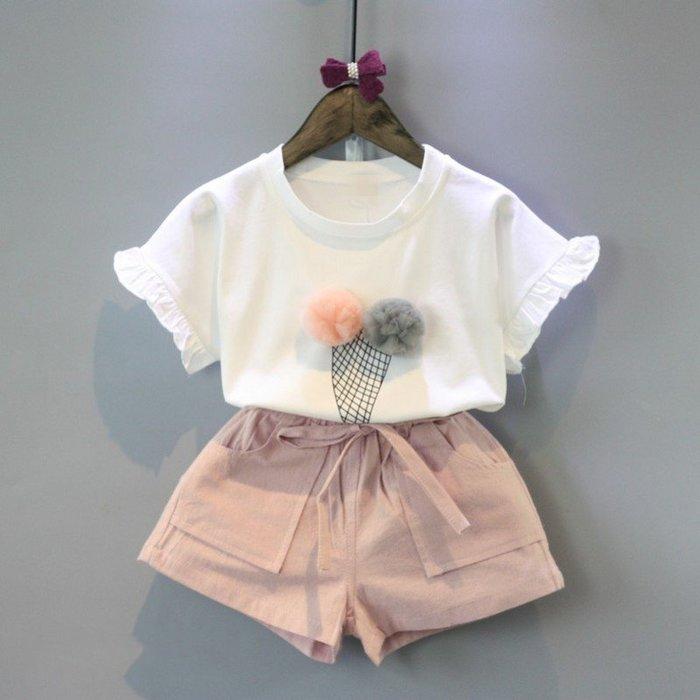 【溜。溜。選物】春夏新款*1+1兒童網紗球冰淇淋印花上衣+短褲套裝兩件組