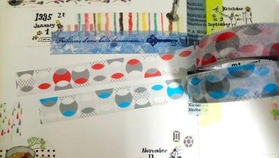 【R的雜貨舖】紙膠帶分裝 日本mt和紙膠帶 Overlap Dot 交織重疊的圓點 橘+藍