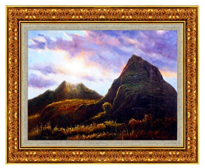 藝術之都:手繪創作油畫~日出山頂~ 已完成作品(實品拍攝) 台灣畫家 倪忠信