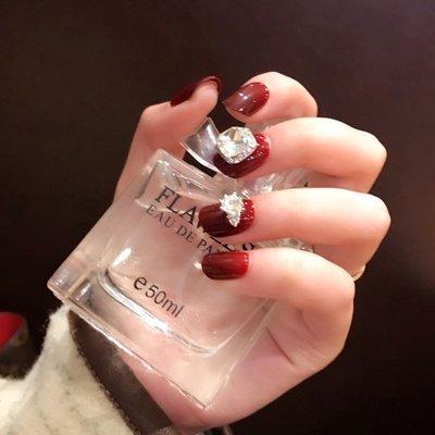 雨奈可拆卸指尖魔盒美甲貼片 假指甲成品 棗紅色指甲貼美甲可摘戴