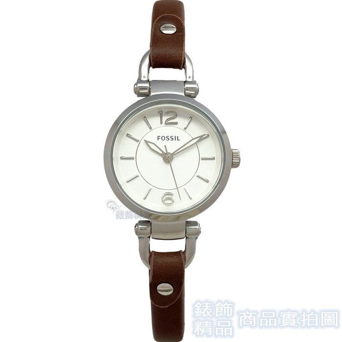 FOSSIL 手錶 ES3861 優雅極致 細咖啡色錶帶 女錶【錶飾精品】