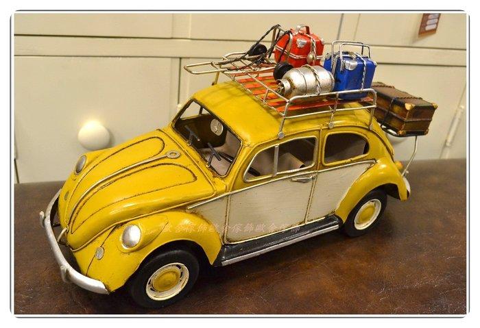 金屬黃色福斯露營車金龜車行李箱 復古手工鐵皮模型schuco舒克老爺車Volkswagen車頂架行李架老件【歐舍家飾】】