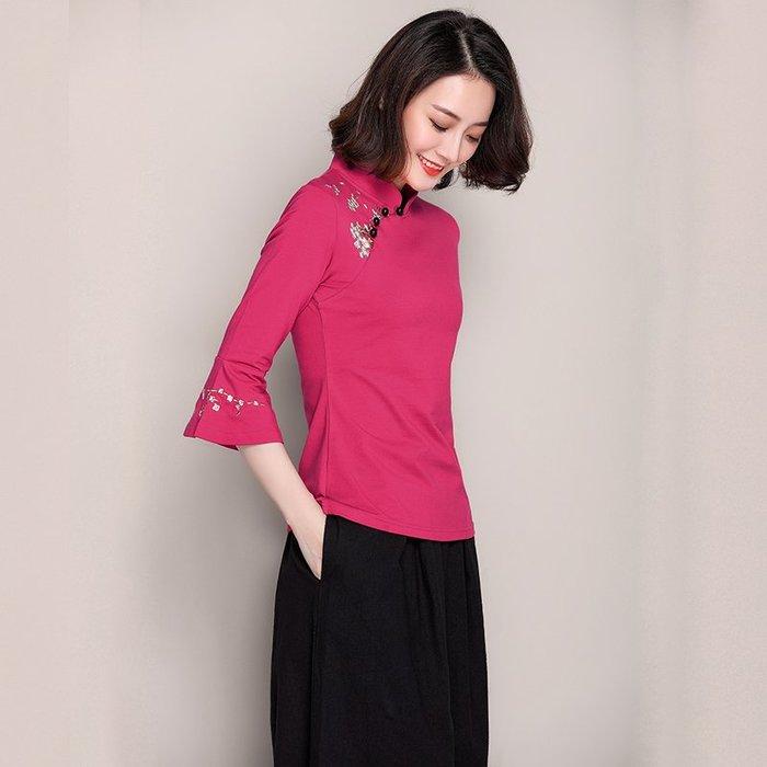 創意 民族風時尚澳瑪斯汀春夏季中國民族風繡花半袖顯瘦大碼打底T恤女裝復古上衣