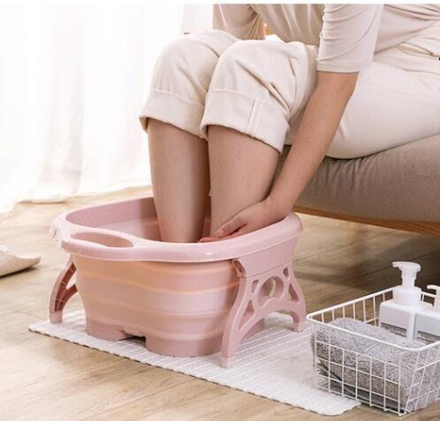 素色摺疊泡腳盆按摩桶足浴盆塑料