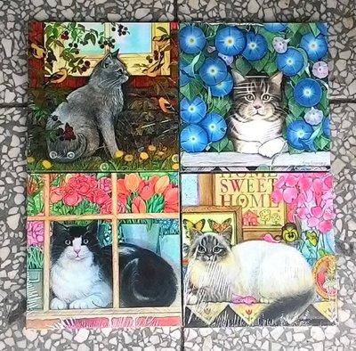 ~浪漫349~單片價可愛寫實貓咪印刷木板畫無框畫小品掛畫 18~  lt b  gt 0  lt b  gt .9~18cm