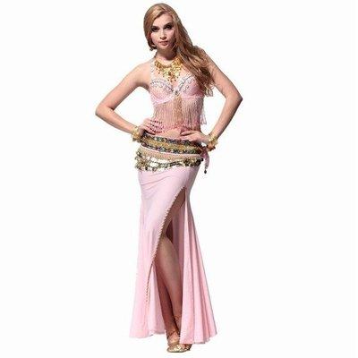 肚皮舞舞衣華麗性感肚皮舞套裝演出文胸+珠繡裙+二排鑽腰鏈