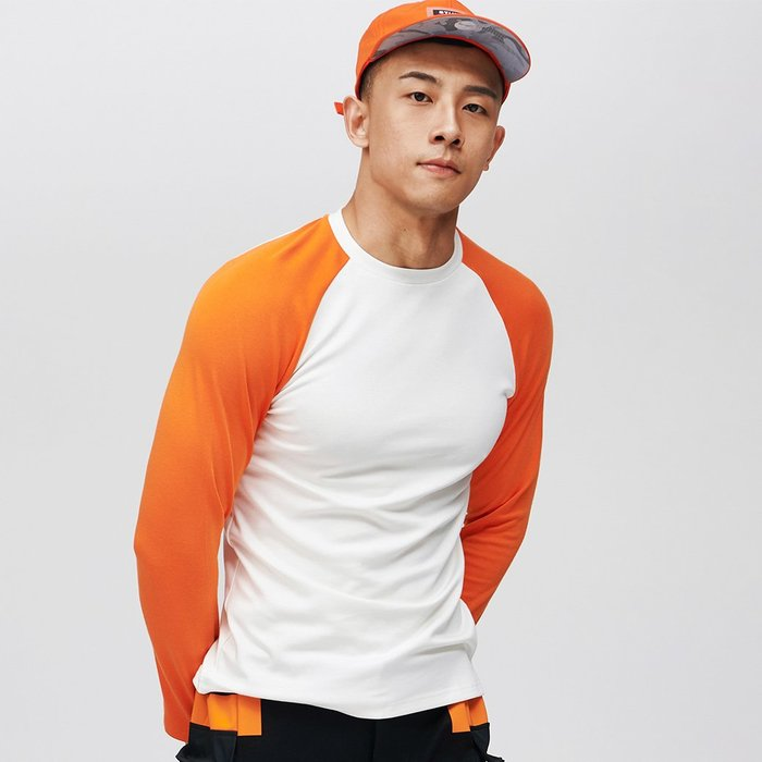 【OTOKO Men's Boutique】固制:復古拼色插肩長袖/白身橘袖(台灣獨家代理)