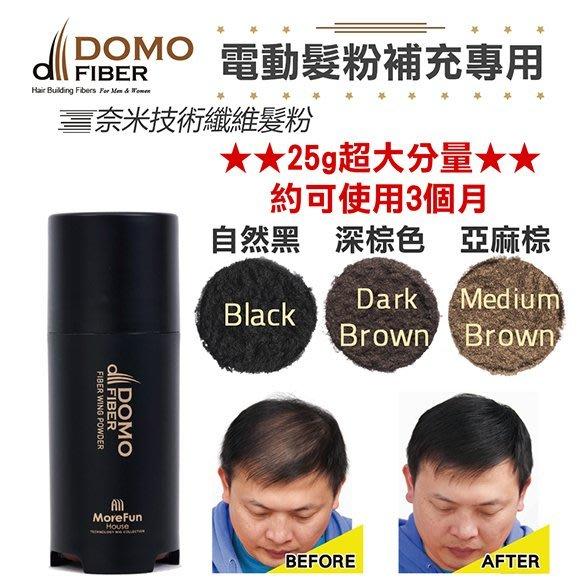 【電動髮粉補充專用】奈米級增髮纖維【超大份量】25克髮粉,約可使用三個月(韓國原裝) 自然黑 缺貨中