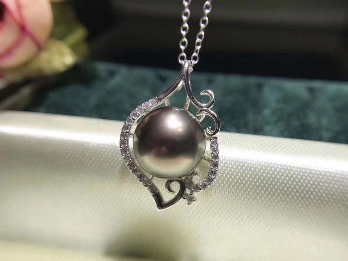 (輕舞飛揚)S925銀鑲嵌精美工藝精緻甜美.天然大溪地海水黑珍珠天然海水珍珠正圓強光微瑕品質10-11mm珍珠.