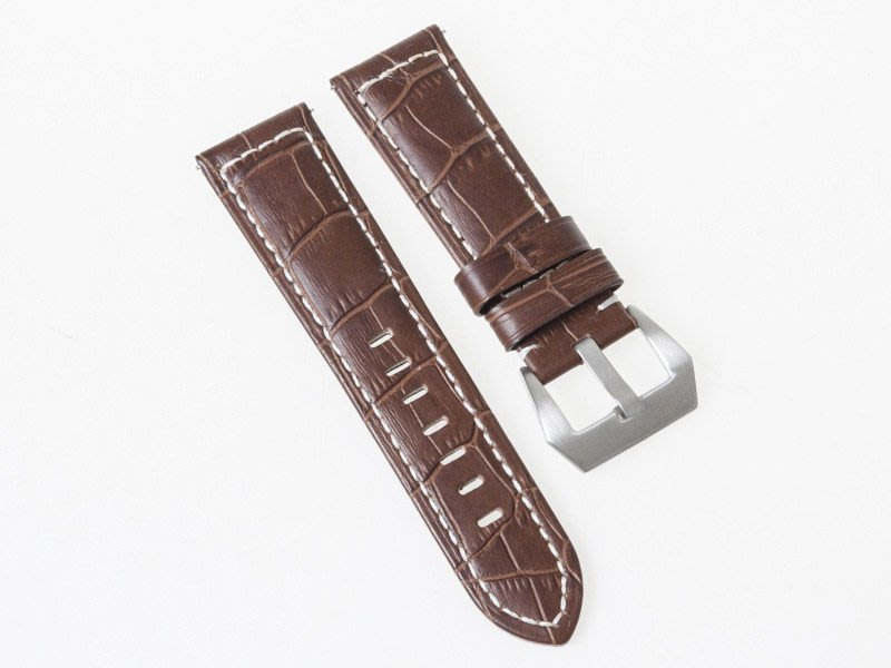 牛皮磨砂紋路錶帶 厚款真皮手錶帶 銀扣 26MM 深棕 FA-37293