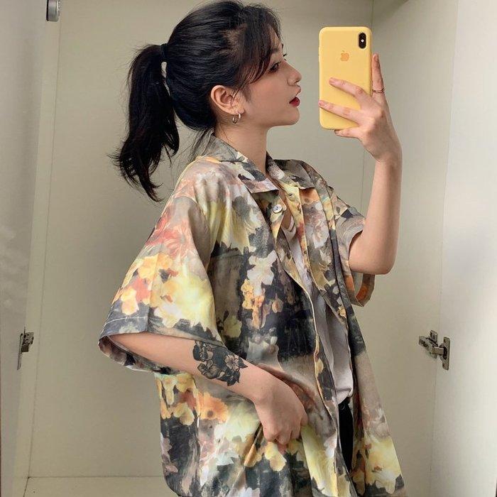小香風 短袖T恤 時尚穿搭 韓版 寬松油畫印花短袖襯衫女設計感小眾復古港味上衣