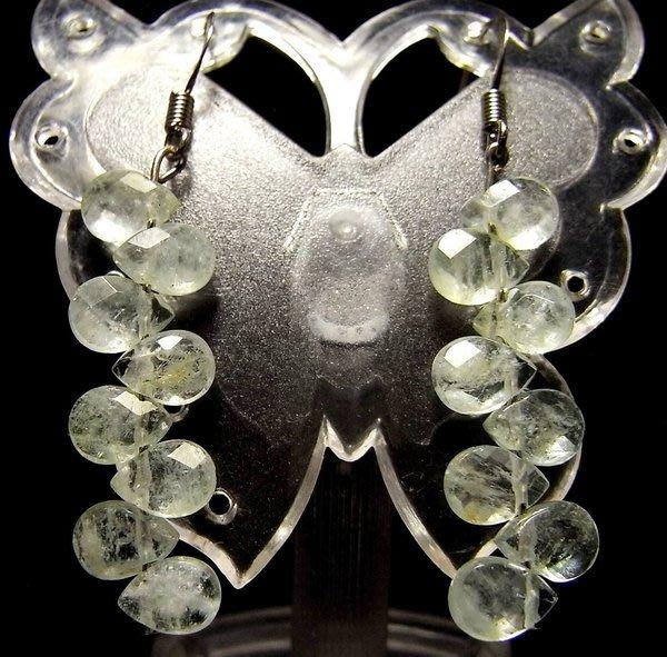 小風鈴~天然高檔清透鑽切水滴形海藍寶耳環(耳鉤)