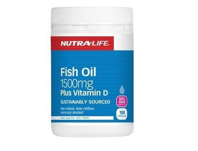 紐西蘭 Nutra life 深海魚油 1500mg 紐西蘭直送 180顆 紐樂 正品公司貨