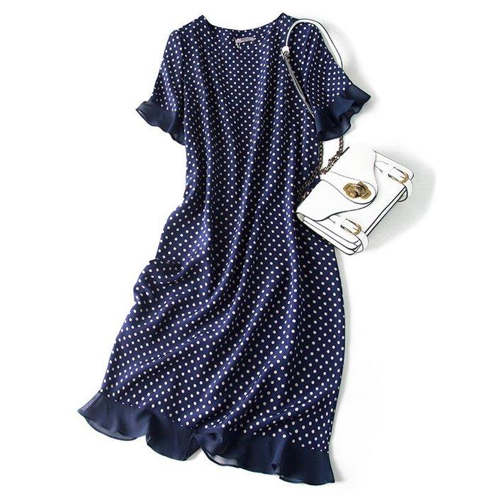 ZA152 專櫃加厚桑蠶絲雙縐藏青色波點荷葉邊下擺連衣裙