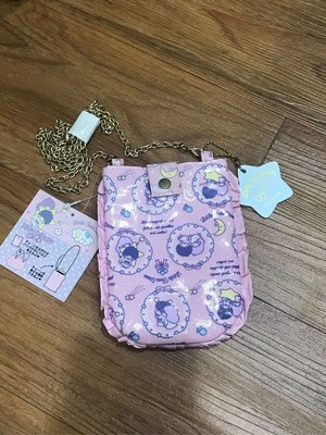*凱西小舖*日本進口三麗歐正版 kiki lala 雙子星 金屬鍊帶可斜背收納/手機袋