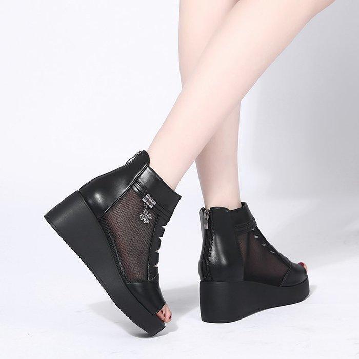 創意夏季女鞋 坡跟涼鞋女夏季新款厚底舒適百搭時尚中跟網紗魚嘴鞋鏤空網靴