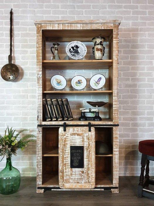【卡卡頌 歐洲古董】 高品質 厚實 設計款  米白  刷色 滑軌輪門板 書櫃 展示櫃 ca0197 ✬