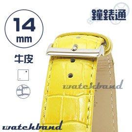 【鐘錶通】C1.32I《亮彩系列》鱷魚格紋-14mm 檸檬黃┝手錶錶帶/皮帶/牛皮錶帶┥