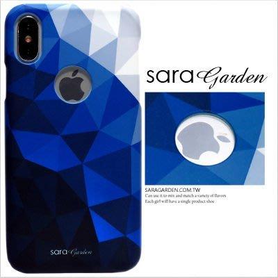 客製化 手機殼 iPhone X 8 7 Plus 硬殼 簍空 三角撞色藍色【J0920001】