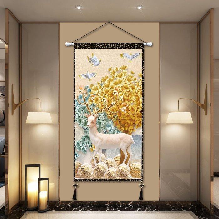 麋鹿大幅掛毯大尺寸布藝掛畫客廳臥室玄關背景墻裝飾掛布定制畫