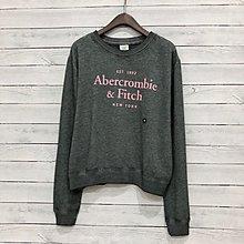 Maple麋鹿小舖 Abercrombie&Fitch * AF 灰色燙印寬版字母長T *( 現貨M號 )