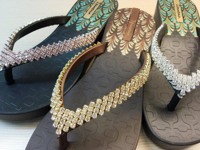 嘉年華 巴西人字鞋 Ipanema 五公分華麗東方厚底 施華洛世奇菱形大顆四排白鑽水鑽鞋