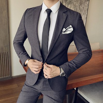 【時尚先生男裝】韓版西裝西服套裝英倫風男生美發師紳士修身西服兩件套韓版男士時尚休閑西服套裝西裝外套西裝褲雅痞紳士新郎伴郎結婚禮服修身顯瘦商務西裝XZ732