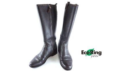 [Eco Ring HK]*Fendi Long Boots/Dark Brown/Leather/Size 38.5*Rank B-197025364-