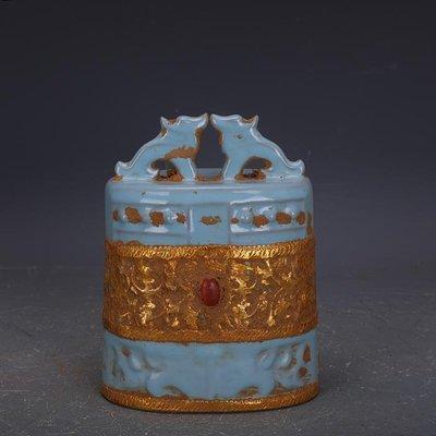 【三顧茅廬】宋代汝窯包金鑲寶石鼓釘甬鐘吊鐘 文物古瓷器古玩古董收藏品