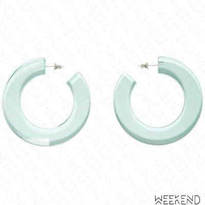【WEEKEND】 PUSHBUTTON 大尺寸 缺口 圓形 透明 綠色 一對 耳環