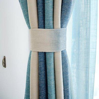 窗簾 網紅ins北歐簡約現代地中海條紋窗簾棉麻客廳臥室成品定制窗簾 買了否冷 年終大促