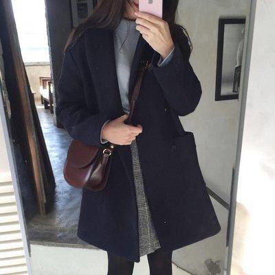 日和生活館 正韓秋冬學生毛呢子大衣加厚小個子外套大碼寬鬆中長款女S686