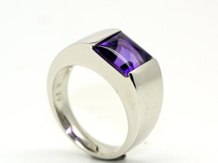紫水晶戒指 2.3克拉 公主方花式車工 頂級AAA巴西產天然紫水晶 K白金 附保證書【大千珠寶】台北五十年寶石專賣店
