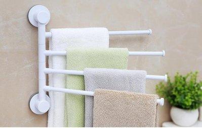 ZIHOPE 毛巾架-創意吸盤旋轉四桿毛巾架 免打孔浴室衛生間毛巾掛廁所免釘毛巾桿ZI812